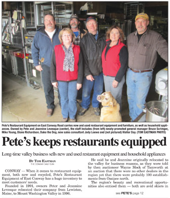 Pete's Restaurant Equipment in Conway Daily Sun