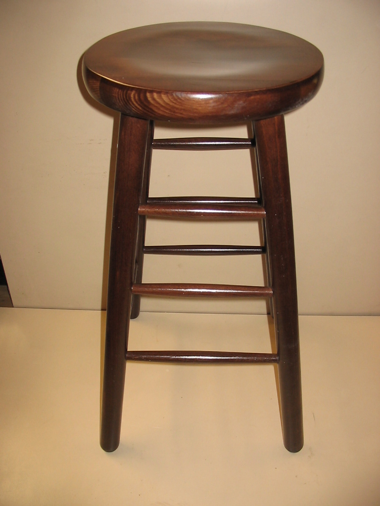 New 30 Quot Round Wood Stool Walnut Pete S Restaurant